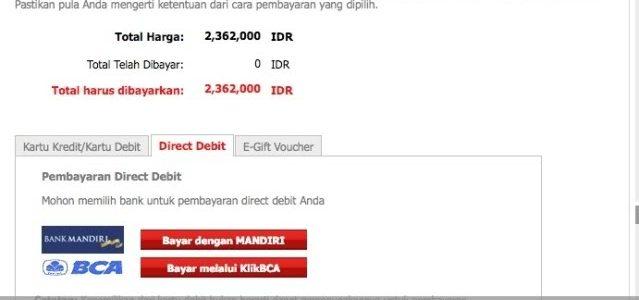 Pembayaran AirAsia melalui KlikBCA