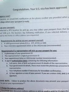Kertas putih, visa diberikan